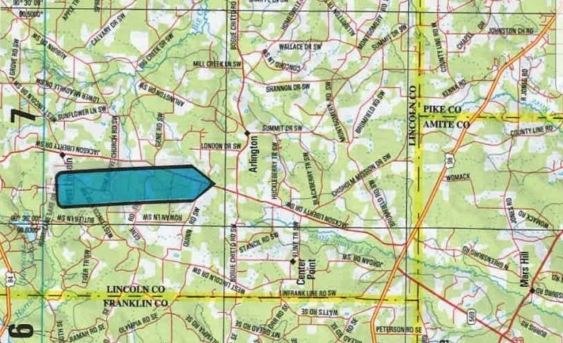 154.5 Acres in Lincoln County in Bogue Chitto, MS